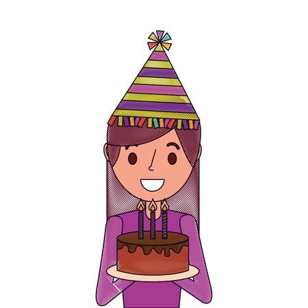 Portrait happy woman holding birthday cake and wearing party hat. Illustration