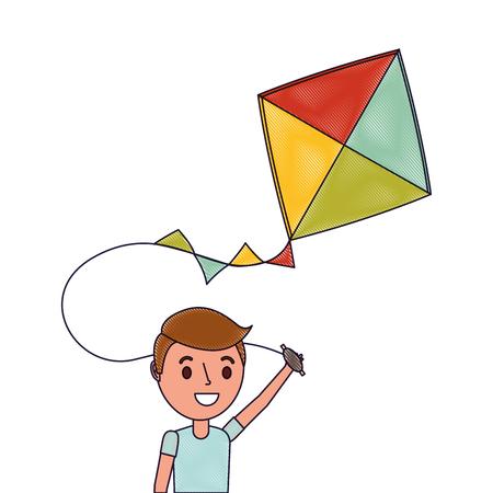 かわいい幸せな男の子は面白い遊んで凧を保持