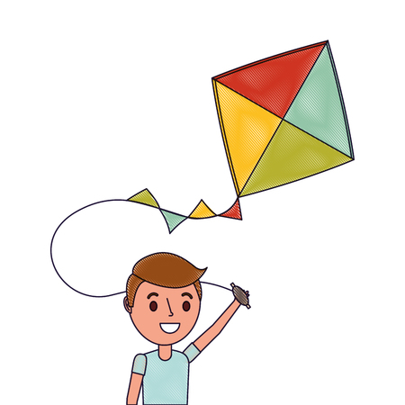 Cute happy boy holding kite playing funny Illustration