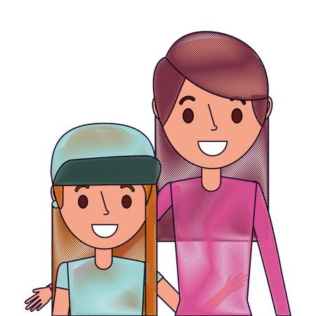 Cute mom embracing her teen daughter, vector illustration. Иллюстрация
