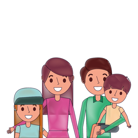 Portrait family dad carrying son with mom daughter, vector illustration. Illustration