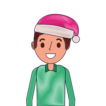 Smiling man young with Christmas hat, cartoon vector illustration