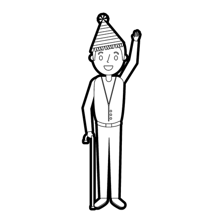 Older man with party hat waving hand, vector illustration. Illustration