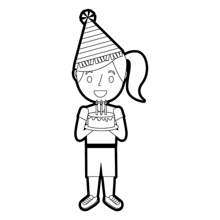 Young girl with party hat holding birthday cake, vector illustration. Illustration