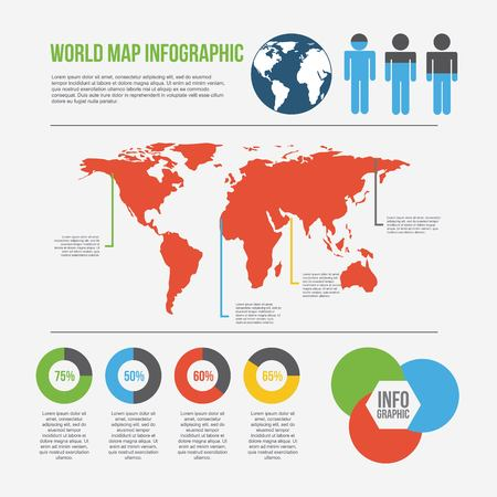 world map infographic chart percent presentation population vector illustration