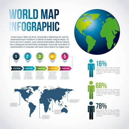 world map infographic chart population vector illustration Vettoriali