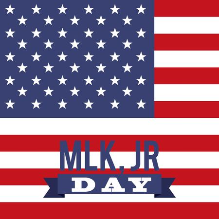 Marin luther king jr day greeting card with US flag design. Illustration