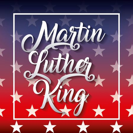 미국 디자인의 색 플래그가있는 마틴 루터 킹 포스터.
