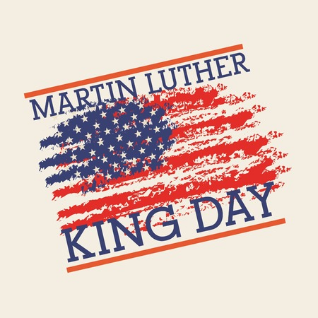 Martin luther king poster with colors flag of US design. Vettoriali