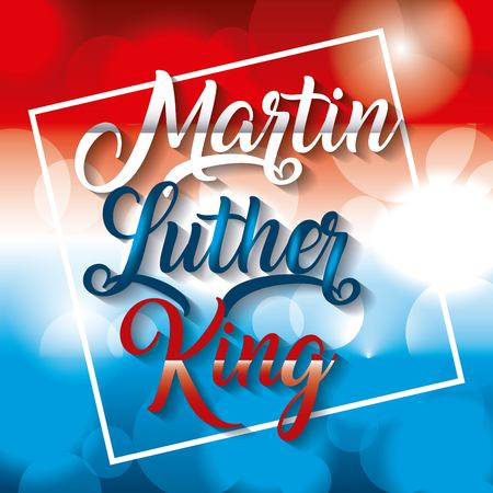 Martin luther king poster with colors flag of US design. Иллюстрация
