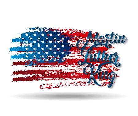마틴 루터 킹 그런 지 미국 국기 글자 디자인입니다. 일러스트