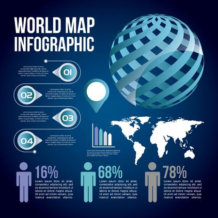 World map infographic chart population template.