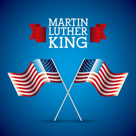 martin luther king card pair flag american crossed vector illustration