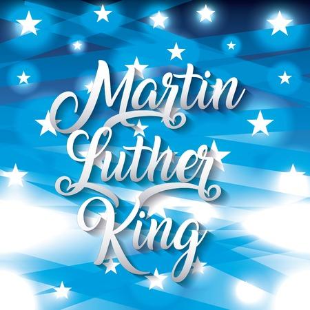 青い輝くイラストでマーティン・ルーサー王のレタリング。