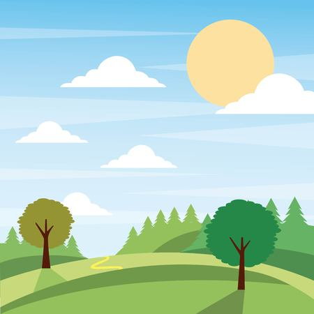 Nature landscape with trees and cloud illustration.