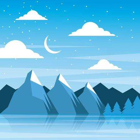夜の冬の山月雲松の木反射ベクトルイラスト