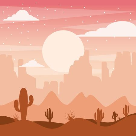 Cartoon desert landscape with cactus hills and mountains silhouettes illustration.