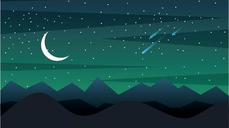 シルエットの山々と三日月の空間風景