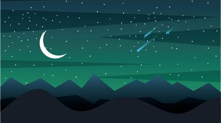 Space landscape with silhouette mountains and crescent moon