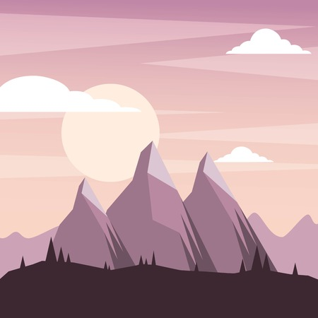 wild mountain weed nature clouds landscape scene vector illustration Illusztráció