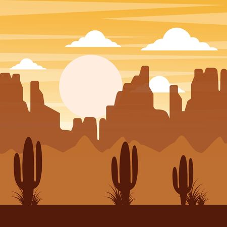 cartoon desert landscape with cactus hills and mountains silhouettes nature vector illustration