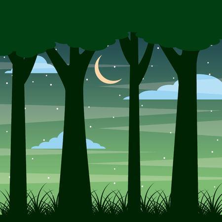 bosstam van boom nacht landschap met maan en wolken vector illustratie