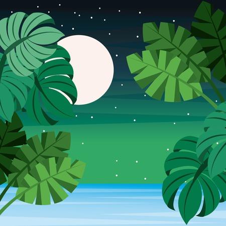ヤシの葉と満月の星空イラストの風景。