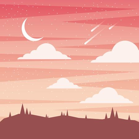 sunset landscape moon clouds and fall asteroid vector illustration