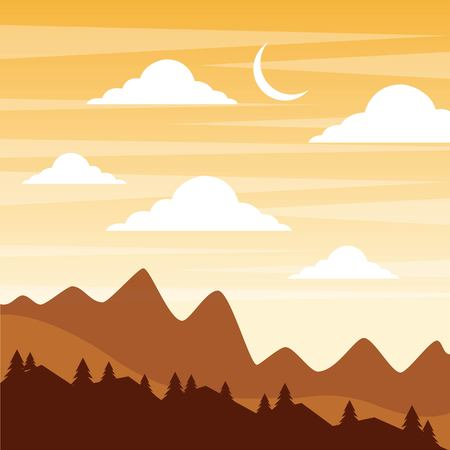 landscape sunset in the mountains crescent moon sky clouds vector illustration