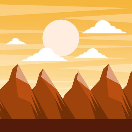 Landscape sunset in the mountains full moon and clouds scene illustration.