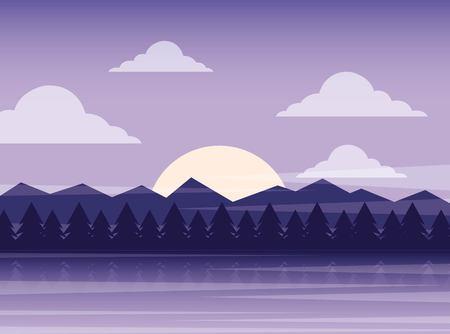Natuur landschap illustratie.