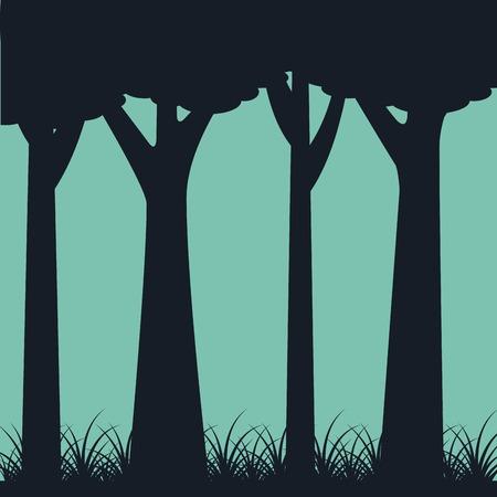 Sagoma di alberi tronco erbaccia paesaggio verde sfondo illustrazione vettoriale Archivio Fotografico - 91282998