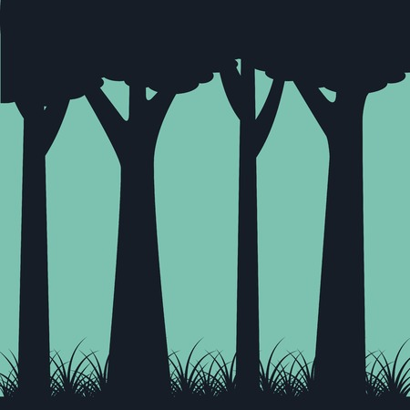 silhouette of trunk trees weed landscape green background vector illustration Illustration