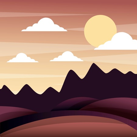 landscape sunset in the mountains hills sky panorama vector illustration