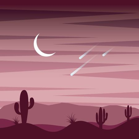 landscape sunset desert cactus sky moon and fall stars vector illustration