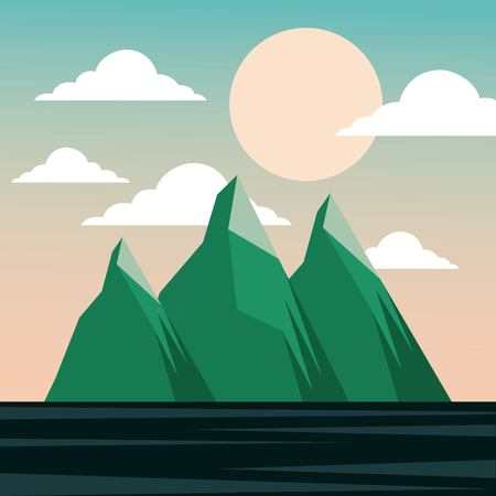 landscape mountains winter night moon and sea vector illustration Imagens - 91283063