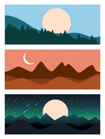 set of landscape sky mountains banners horizontal vector illustration