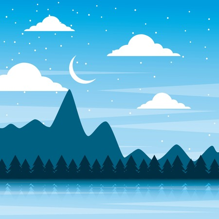 landscape night mountains forest pine tree and sky moon vector illustration