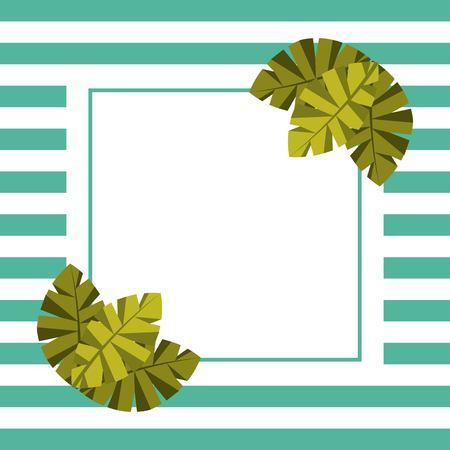 텍스트에 대 한 빈 카드 팜 나뭇잎 열 대 및 줄무늬 배경 벡터 일러스트 레이 션 일러스트