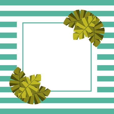 blank card for text palm leaves tropical and stripes background vector illustration
