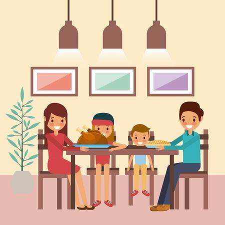 함께 가족 저녁 식사 추수 감사절 테이블 벡터 일러스트 레이 션에 앉아