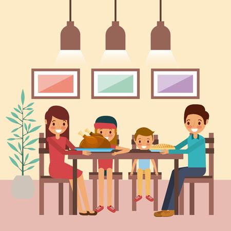 family together dinner thanksgiving sitting in table vector illustration