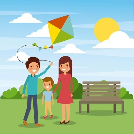公園で凧遊びをする家族。