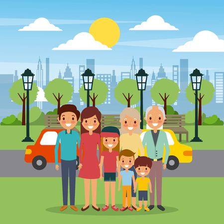 Family happy in the park city street cars illustration.