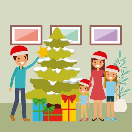 family together decorating christmas tree and gifts vector illustration
