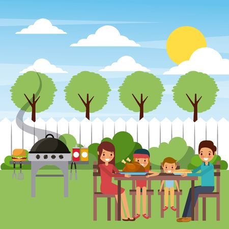 family eating dinner in the garden with grill hot food vector illustration
