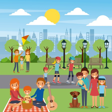 Famille dans l'illustration de l'aire de jeux. Banque d'images - 91283758
