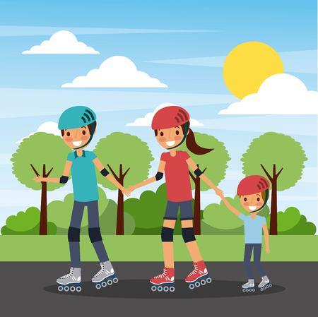 Family practicing roller skate in the park illustration. Ilustrace