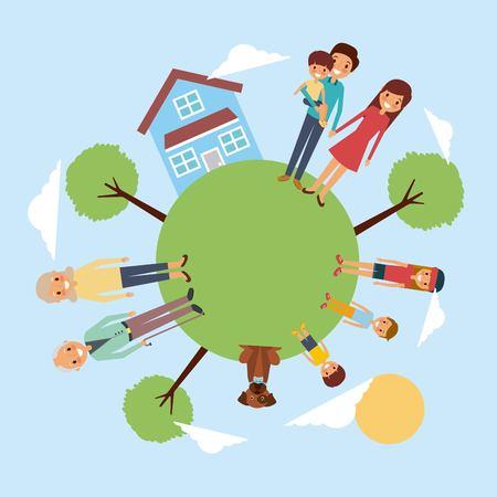 family around meadow house pet tree sky vector illustration
