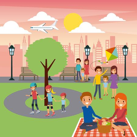 differents family activities in the park city sunny day vector illustration Illustration